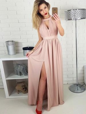 Chic Halter A-Line Evening Dresses   Side Slit Zipper Prom Dresses_1