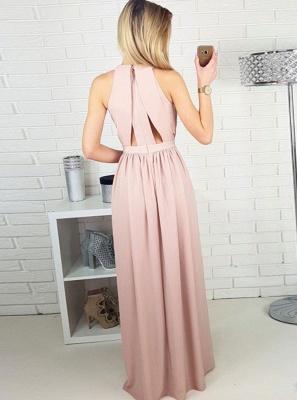 Chic Halter A-Line Evening Dresses   Side Slit Zipper Prom Dresses_3