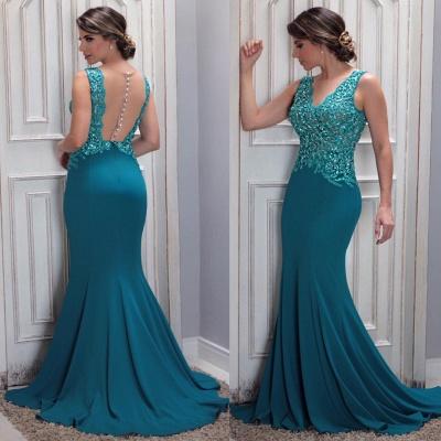 Mermaid Arrival Lace New Beaded V-Neck Prom Dress_3