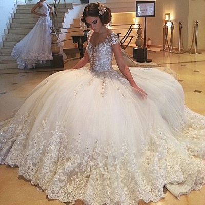 Ball Cap-Sleeves Gown Crystals Gorgeous Beaded Lace Tulle Wedding Gowns_3