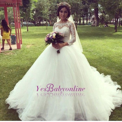 Tulle Glamorous Long Sleeves Princess Lace Ball-Gown Wedding Dress_1