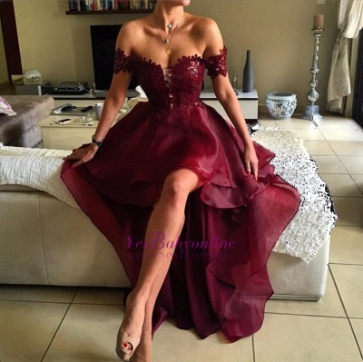 2019 Burgundy Hi-Lo Prom Dresses Off-the-Shoulder Layers Sexy Party Dresses_1