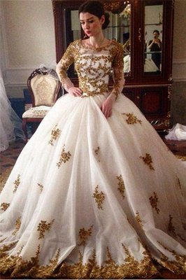 Glamorous Tulle Lace Appliques Wedding Puffys Long Sleeves Bridal Gowns_1