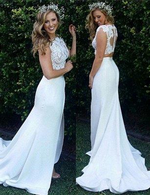 Zipper Modest Two-Piece Sweep-Train White Lace Mermaid Wedding Dress_2