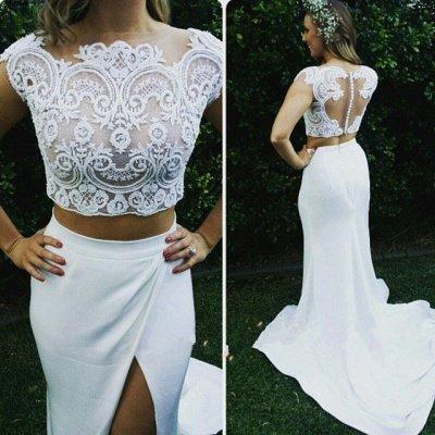 Zipper Modest Two-Piece Sweep-Train White Lace Mermaid Wedding Dress_3