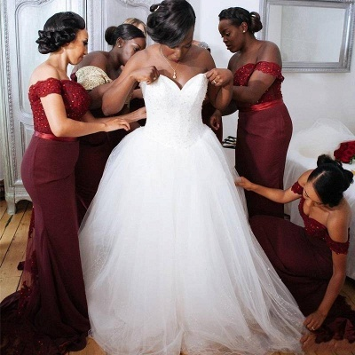 Lace Appliques Glamorous Off-the-Shoulder Mermaid Bridesmaid Dress_4