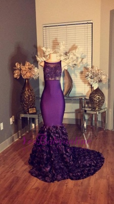 Long Sleeveless Lace-Applique dresses Mermaid Prom Purple with Flower-Train_3
