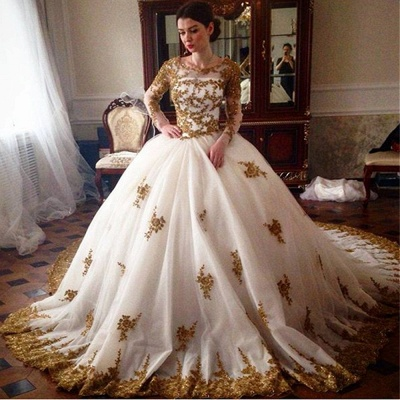 Glamorous Tulle Lace Appliques Wedding Puffys Long Sleeves Bridal Gowns_3