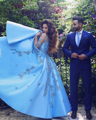 V-Neck A-Line Half-Sleeves Appliques Elegant Prom Dresses_4