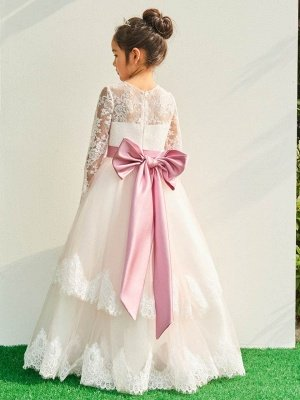 Lovely A-Line Tulle Lace Long Sleeves Flower Girl Dress with Bowknot_3