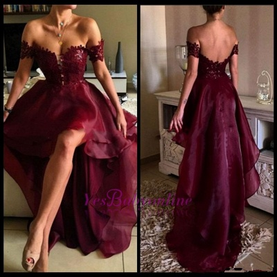 2019 Burgundy Hi-Lo Prom Dresses Off-the-Shoulder Layers Sexy Party Dresses_5