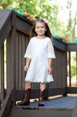 White Lace Knee-Length Cute Half-Sleeve A-line Flower-Girl Dress_2