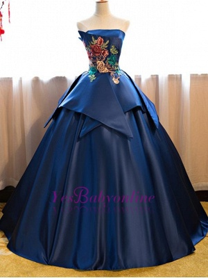 Strapless Embroidery Dark-Blue Peplum Puffy Elegant Prom Dresses_1