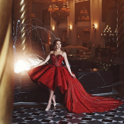 Glamorous  Hi-Lo Prom Gowns   2019 Sequins Sweetheart  Evening Party Gowns_3