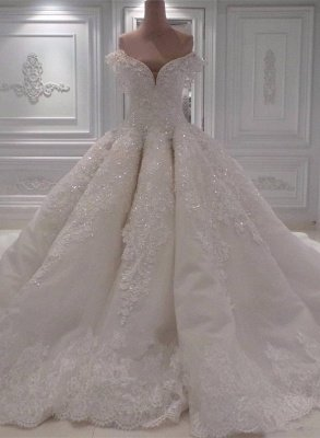 Off the Shoulder Gorgeous Ball Gown Wedding Dresses with Exquisite Appliques