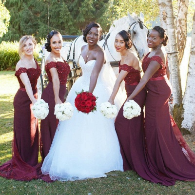 Lace Appliques Glamorous Off-the-Shoulder Mermaid Bridesmaid Dress_3