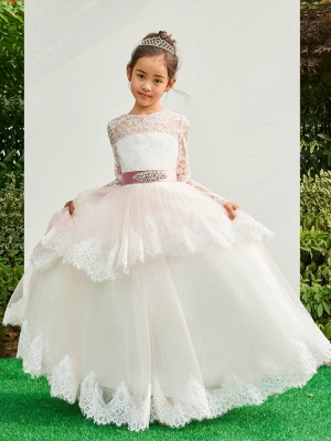 Lovely A-Line Tulle Lace Long Sleeves Flower Girl Dress with Bowknot_1