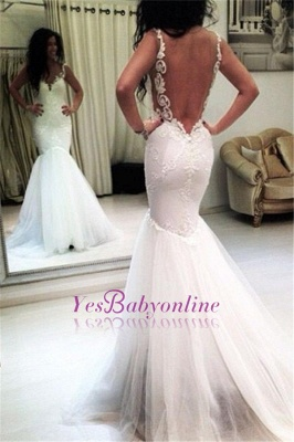 Sleeveless Sexy Appliques Open-Back Mermaid Tulle Wedding Dresses_1