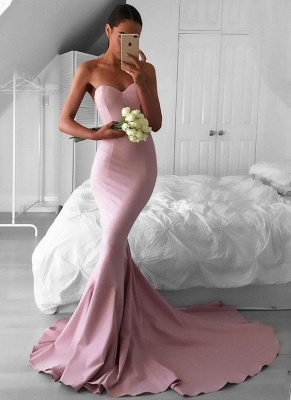 Trumpet/Mermaid Sweetheart Evening Dresses | Strapless Open Back Court Train Evening Gowns_1