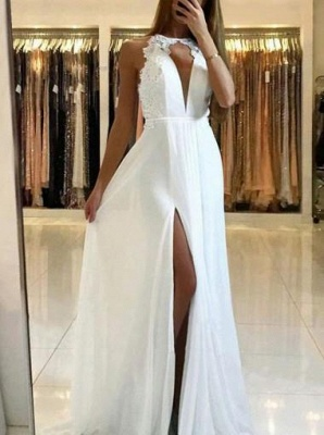 Sexy Halter A-Line Evening Dresses | Side Slit Backless Prom Dresses_5