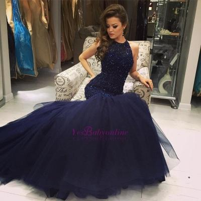2019 Halter Neck Beading Keyhole Back Navy Blue Long Mermaid Prom Dresses_1
