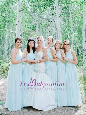 Fashion Party Mint Green Chiffon Wedding One-Shoulder Long Bridesmaid Dresses_1