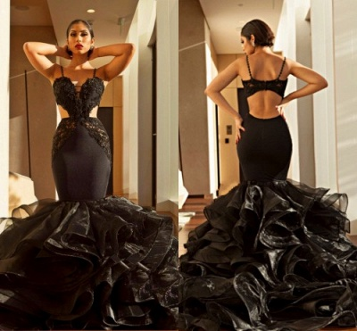 Sexy Black Mermaid Prom Dresses   Spaghettis Straps Cutaway Sides Evening Gowns with Ruffles Train_3