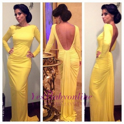 Long-Sleeve Sheath Ruched Open-Back Yellow Evening Dress_1