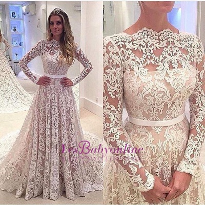 A-Line Bowknot Backless Lace Long Sleevess Glamorous Wedding Dress_1
