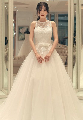 Glamorous Lace-up Bow Sweep Train A-line Sleeveless Wedding Dress_2