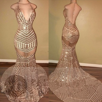 Sexy Sequins Mermaid Prom Dresses See Through Backless Evening Gowns_2