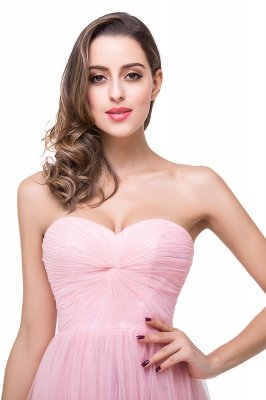 Ruffles  A-Line Simple Sweetheart Evening Gowns_7