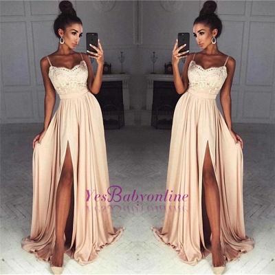 Gorgeous Split Chiffon Prom Dresses | Sexy Spaghetti Straps Evening Gowns_1