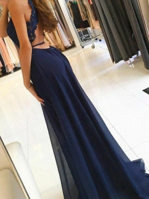 Sexy Halter A-Line Evening Dresses | Side Slit Backless Prom Dresses_3