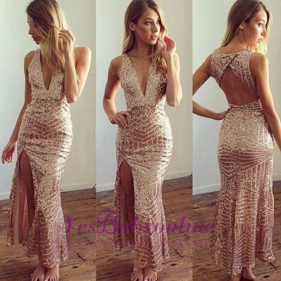 Side-Split Long Sequins Open-Back Shiny V-Neck Prom Dresses_1