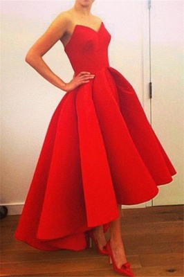Red Hi-Lo Prom Dresses Sweetheart Neck Puffy Chic Party Dresses_2