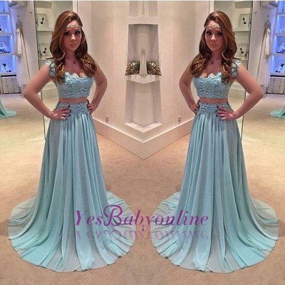 Lace Sweep-Train  Two-Piece Newest A-line Prom Dress_1