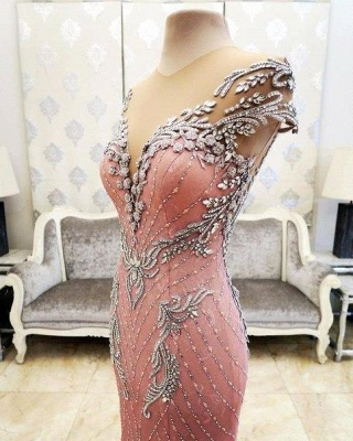 Luxury Pink Mermaid Prom Dresses V-Neck Crystals Evening Gowns_6