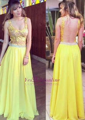 Lace Floor-length Hollow Yellow A-line Straps  Elegant Prom Dress_1
