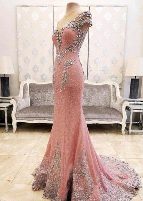 Luxury Pink Mermaid Prom Dresses V-Neck Crystals Evening Gowns_5
