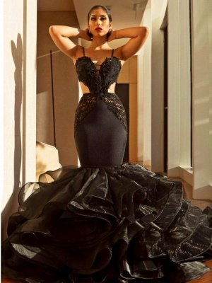 Sexy Black Mermaid Prom Dresses | Spaghettis Straps Cutaway Sides Evening Gowns with Ruffles Train_1