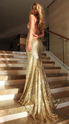 Sexy Gold  Prom Dress Sleeveless Sequins V-Neck Mermaid Backless Evening Gowns_3
