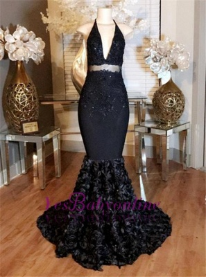 Dress Deep-V-Neck Mermaid Lace-Appliques Halter with Prom Rose Flowers_1