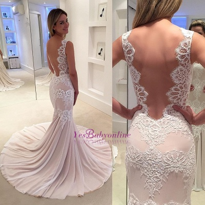 Modern Sleeveless Sweep-Train Lace Mermaid Straps Wedding Dress_1