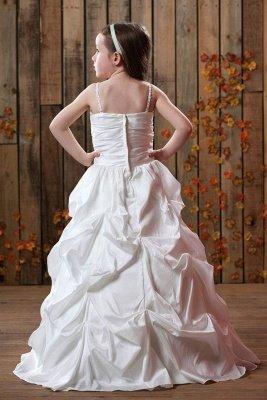 A-Line Taffeta Spaghetti Straps Ruffles Floor-Length Flower Girls Dress with Beading_3