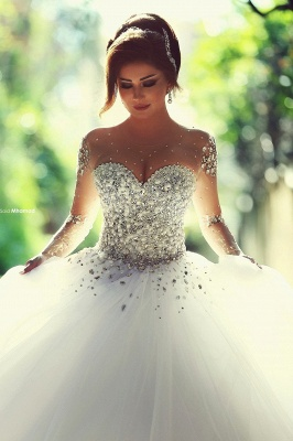 Charming Ball Gown Wedding Dresses Beading Crystals Sheer Long Sleeves Bridal Gowns_1