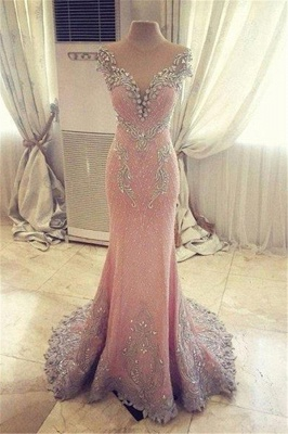 Luxury Pink Mermaid Prom Dresses V-Neck Crystals Evening Gowns_2