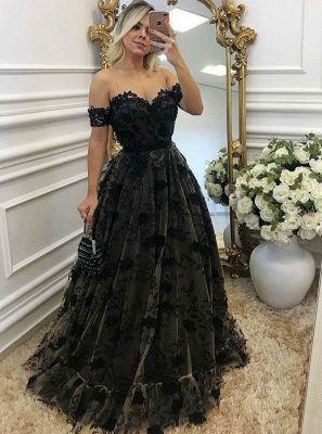 Black Off-the-shoulder A-line Prom Dresses | Lace Appliques Evening Gowns_3