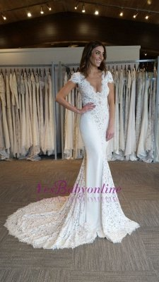 Court-Train Glamorous Mermaid Cap-Sleeves V-Neck Lace-Applique Wedding Dresses_1