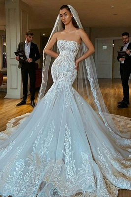 Strapless Sexy Lace Mermaid Wedding Dresses   Criss-cross Bridal Gowns_1